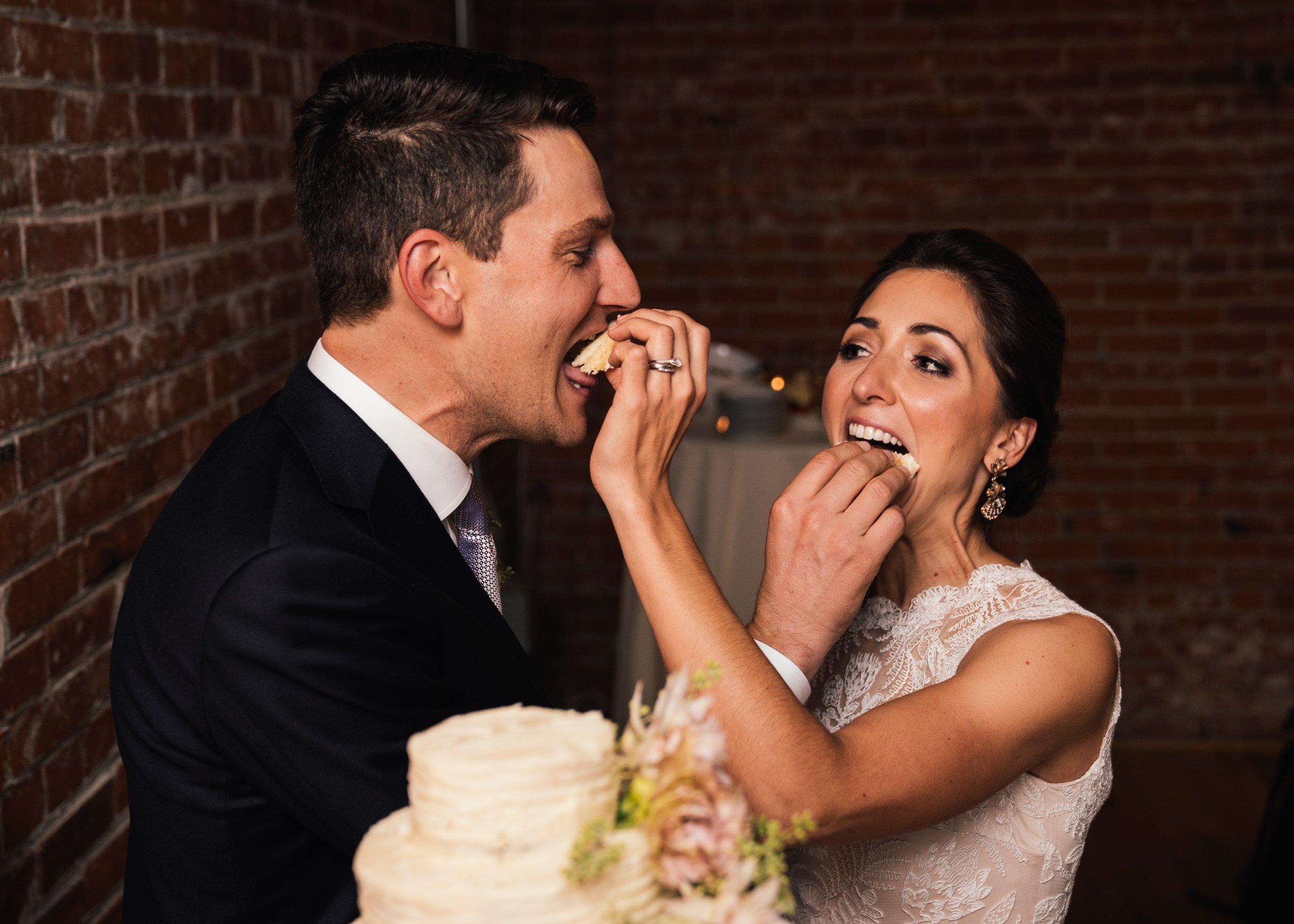 Bride and Groom Cake Cutting at BMoCA