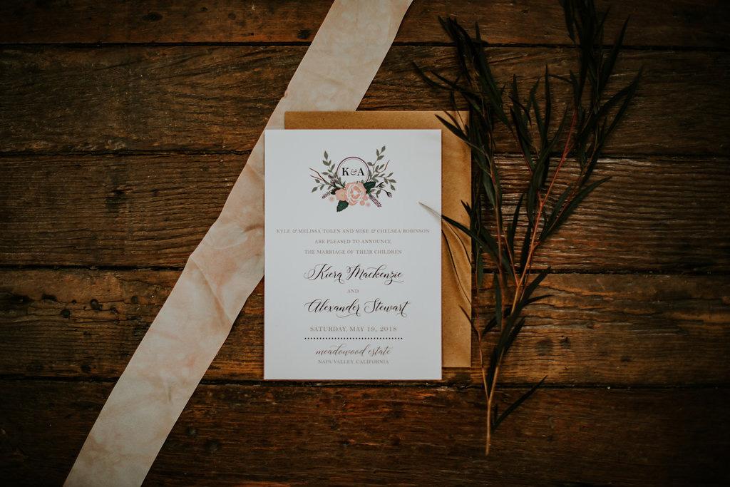 Custom wedding invitation designed by LBC Design Co. Photography by Melissa Malouf of Salty Spruce Studios.
