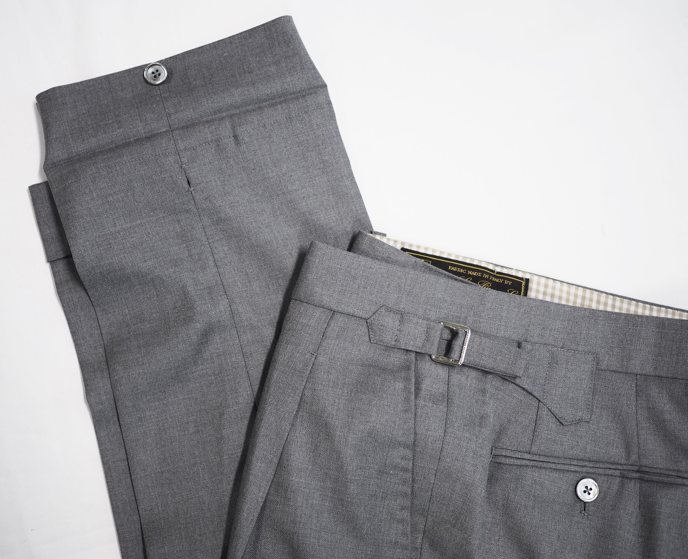 Loro Piana with our classic side adjusters and buttoned cuff.