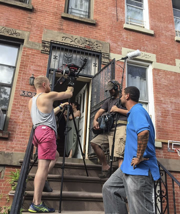 Ryan filming a scene for a feature length drama in Brooklyn, NY.
