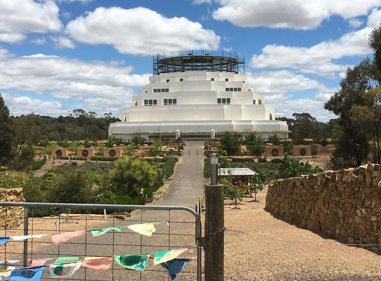 The Great Stupa, state of construction as of the first week of December, 2017 - photo by Catherine Schieve