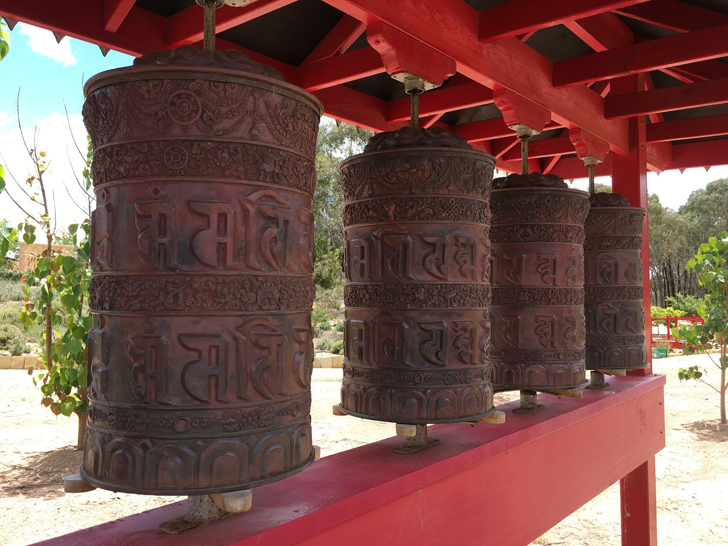 Prayer wheels in Sanskrit; photo by C.Schieve