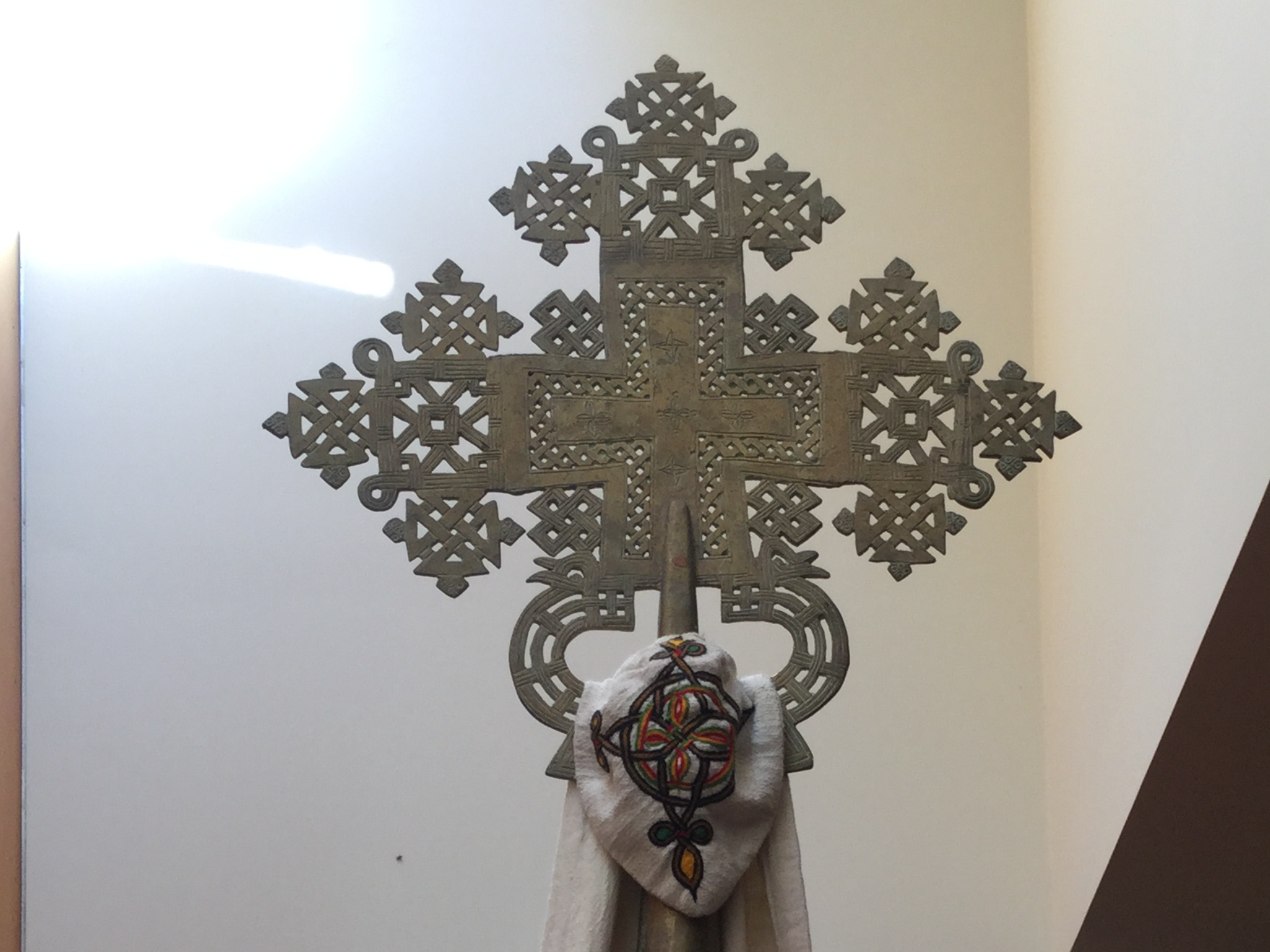 Photograph by Stephen Burns. Ethiopian cross in the chapel of the CTM.