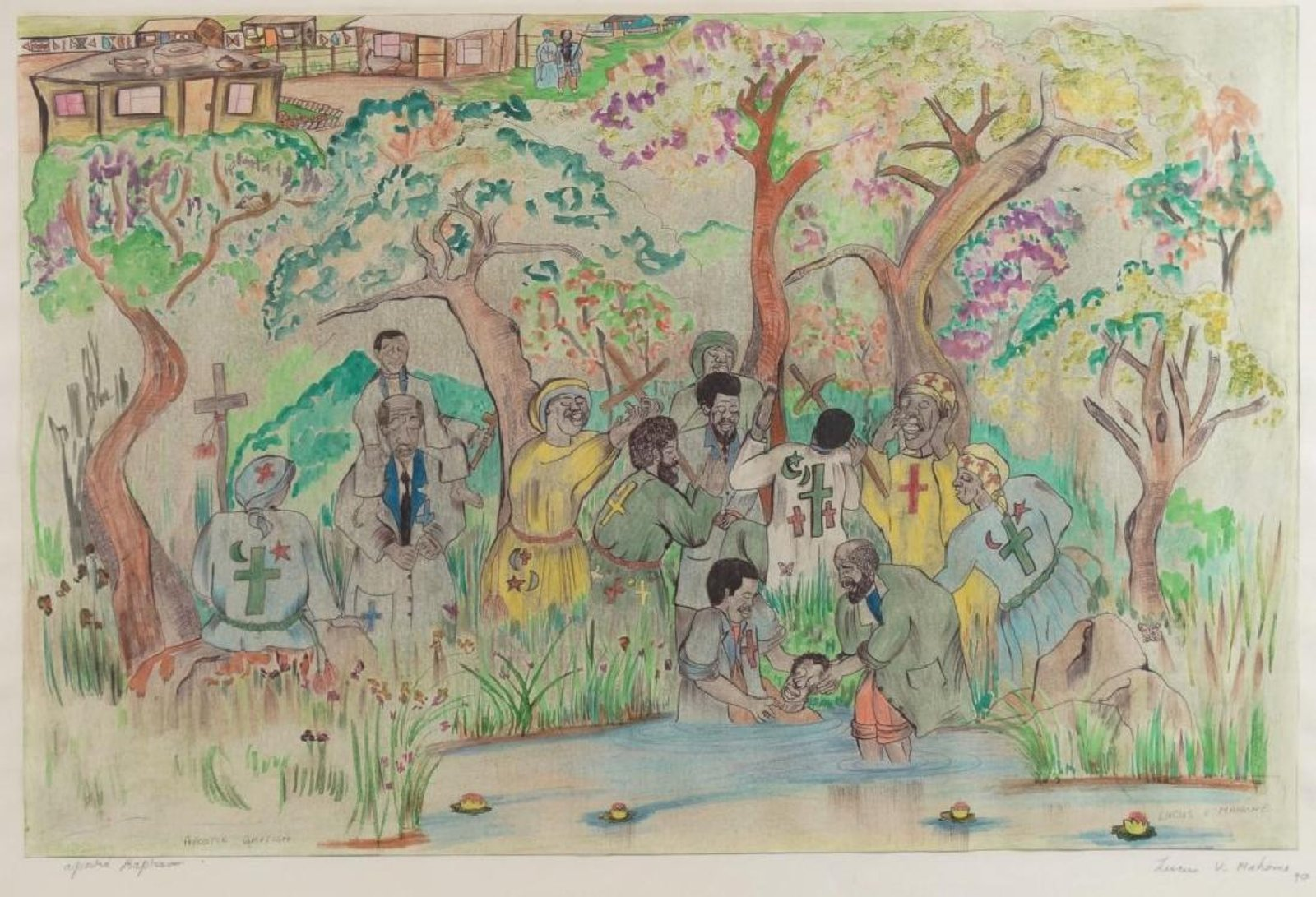 "Lucas V. Mahome, ""Apostic Baptism"" South Africa, 1990, watercolour on paper."