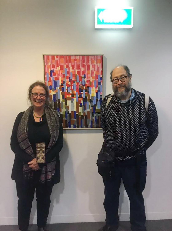 Catherine Schieve with Warren Burt; photo by Stephen Burns