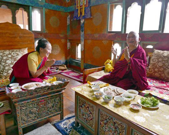 Khadro-la, pictured with Lama Zopa Rinpoche, for whom she wrote the prayer. Photo courtesy of FPMT / Bhutan, 2016.