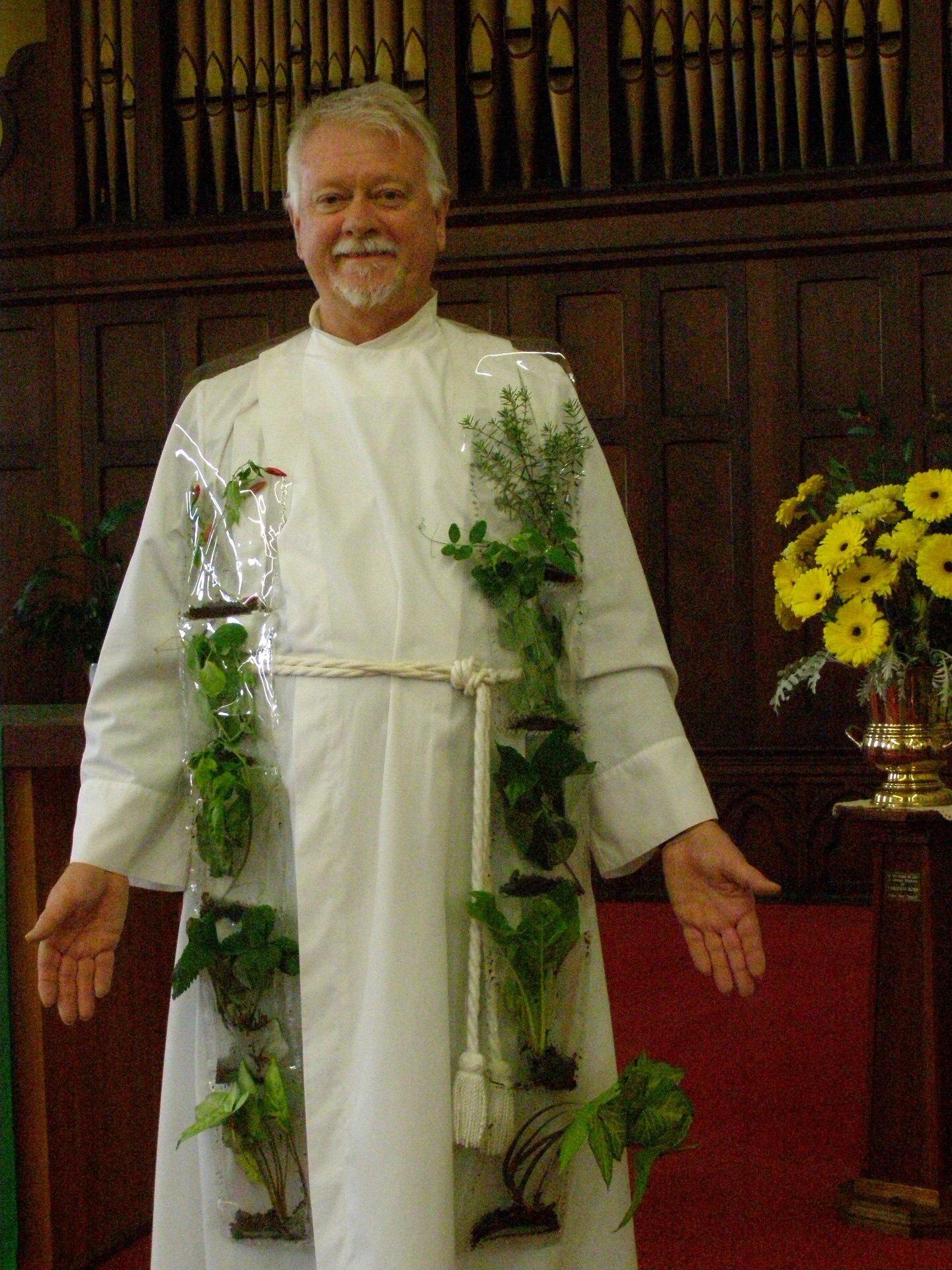 Rev Dr Rod Pattenden; photo taken on World Ecology Day