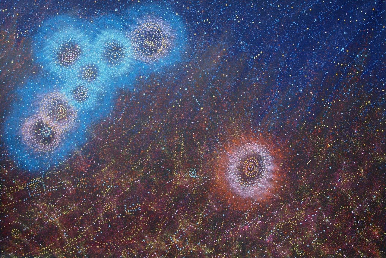 Yanjirlpirri Jukurrpa – Seven Sisters Dreaming, by Alma Nungarrayi Granites, courtesy of  Japingka Aboriginal Art
