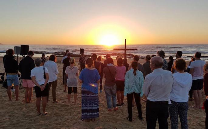 Ecumenical sunrise service, Easter Sunday, Merewether.