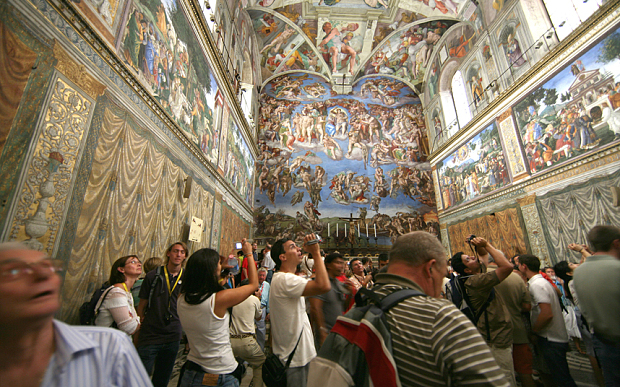 Photo credit: Alamy - from the Telegraph: Members of the public inside the Sistine Chapel at the Vatican Museums in the Vatican City in Rome.    Telegraph.co.uk