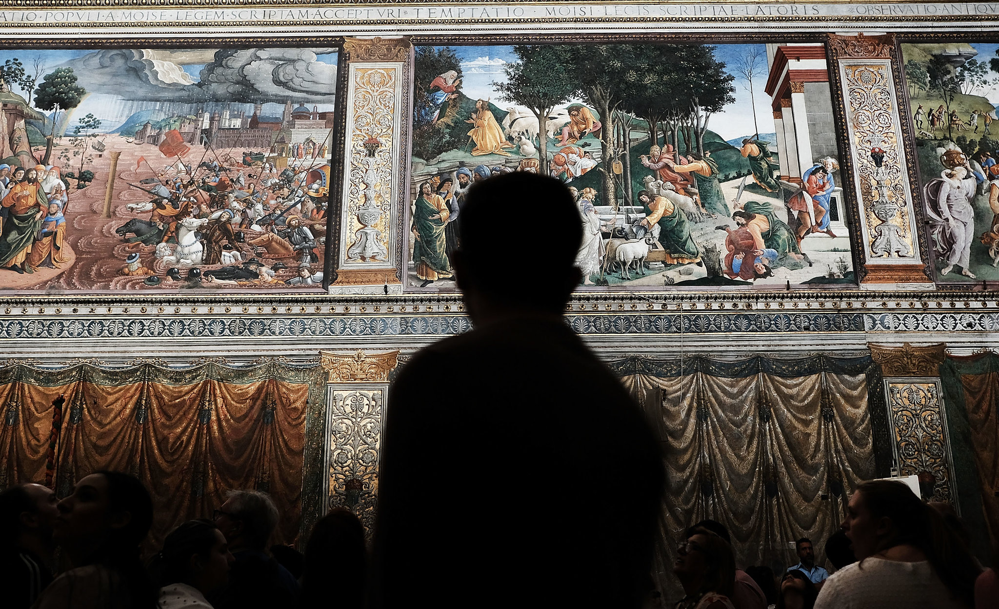 Photo that accompanies the    NY Times article   : Inside the Sistine Chapel, in Vatican City.  Credit Spencer Platt/Getty Images