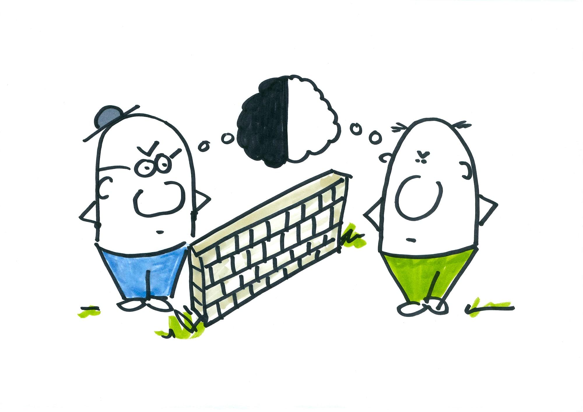 Eierköpfe stehen sich an Grenzmauer gegenüber und denken übereinander nach