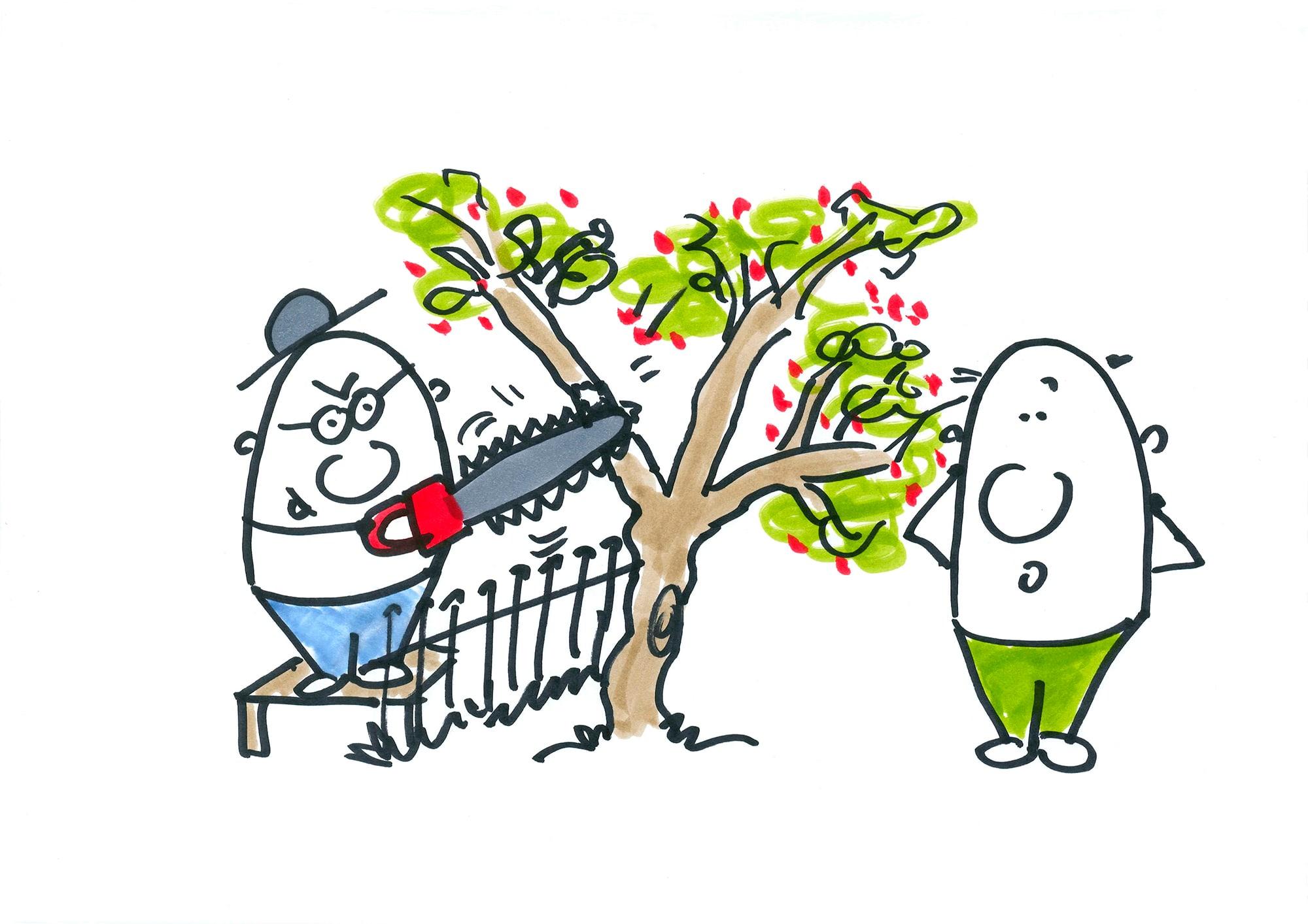 Ein Eierkopf sägt Ast am Baum des anderen Eierkopfes ab