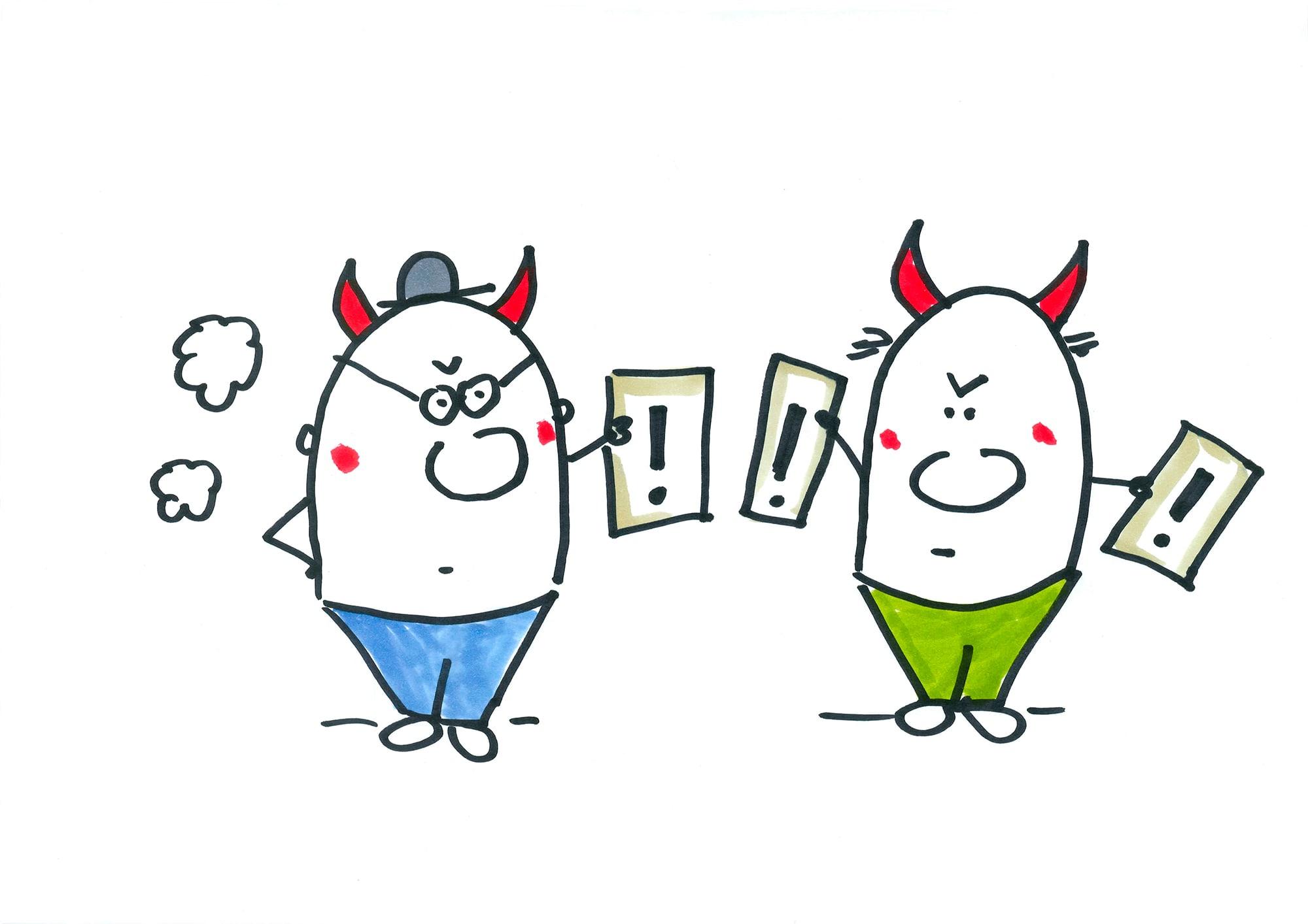 Eierköpfe mit Teufelshörnern drohen einander
