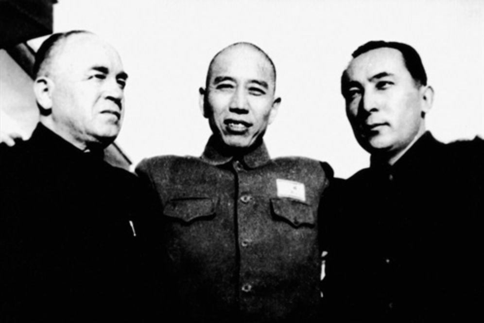 Wang Zhen (middle), with  Saifuddin Azizi  (right),  Burhan Shahidi  (left) in 1949. Wang would go on to become the Xinjiang Uyghur Autonomous Region's first party secretary, and Azizi the first party chairman. Photo:  Wikimedia .