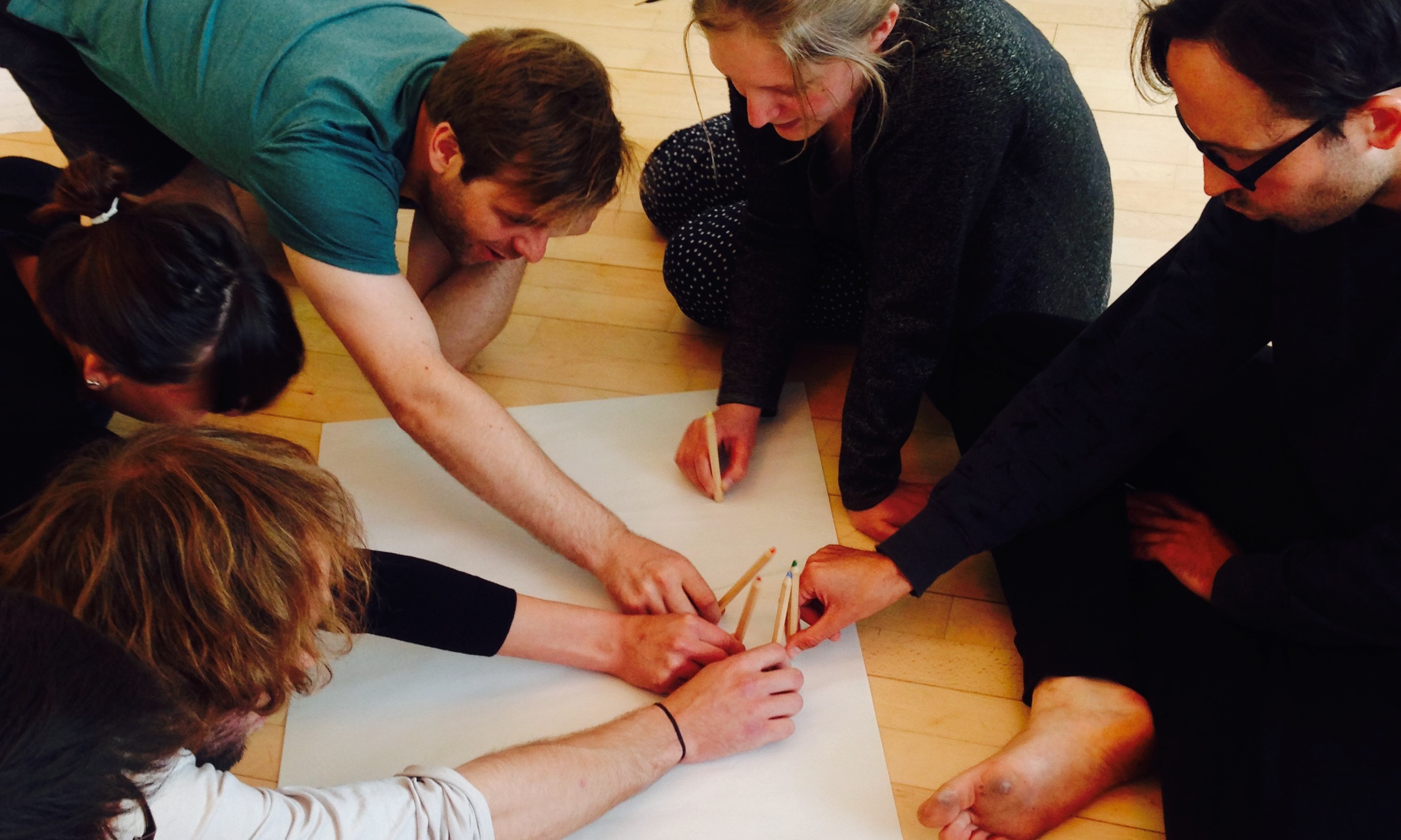 The obligatory rehearsal room shot... an paper-prototype version of one of the sections of  Invisible Treasure.