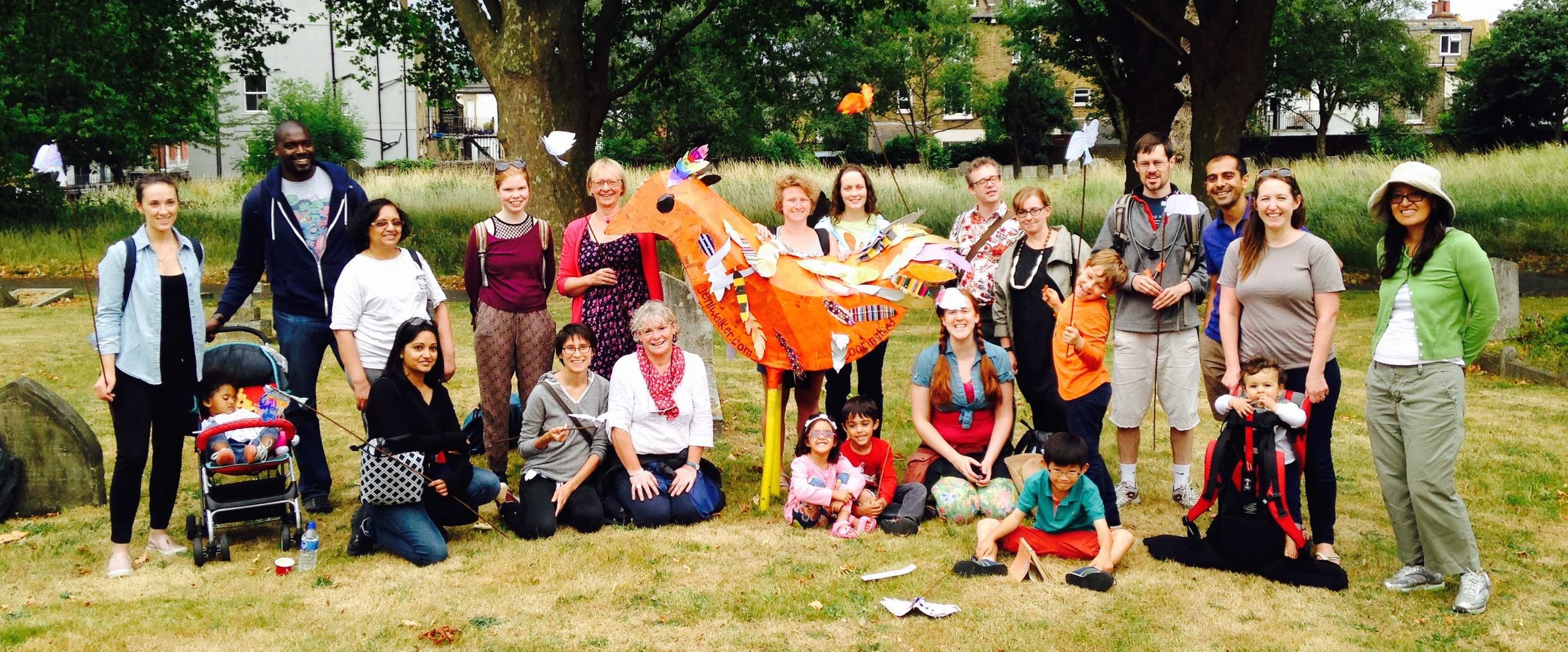 Our  Tooting Field Days  project; the July event, during which a group walked a massive orange bird across South London green spaces.