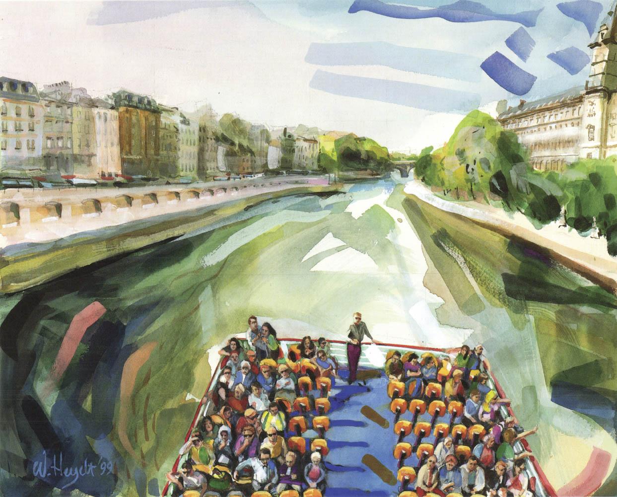A choppy Seine makes for a fun ride on the Bateau Mouche - Paris