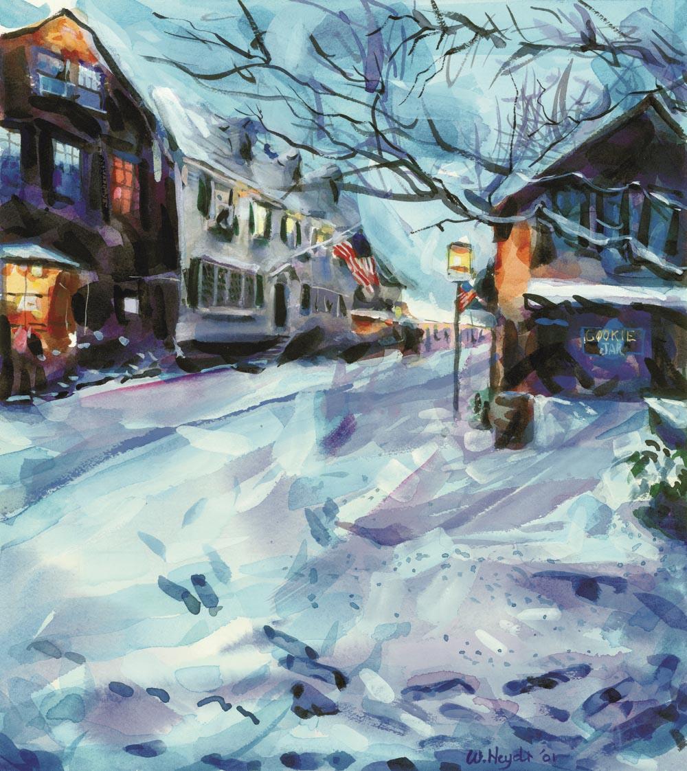 A January snow blankets Bowen's Wharf, Newport