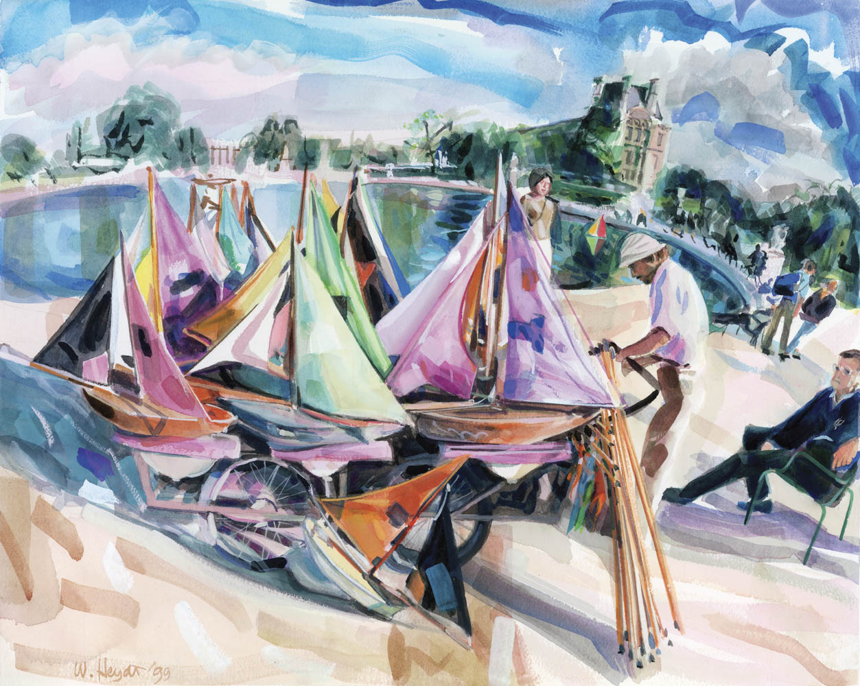 A September sun illuminates the boat tender's stand, No. 2 - The Tuileries pond, Paris