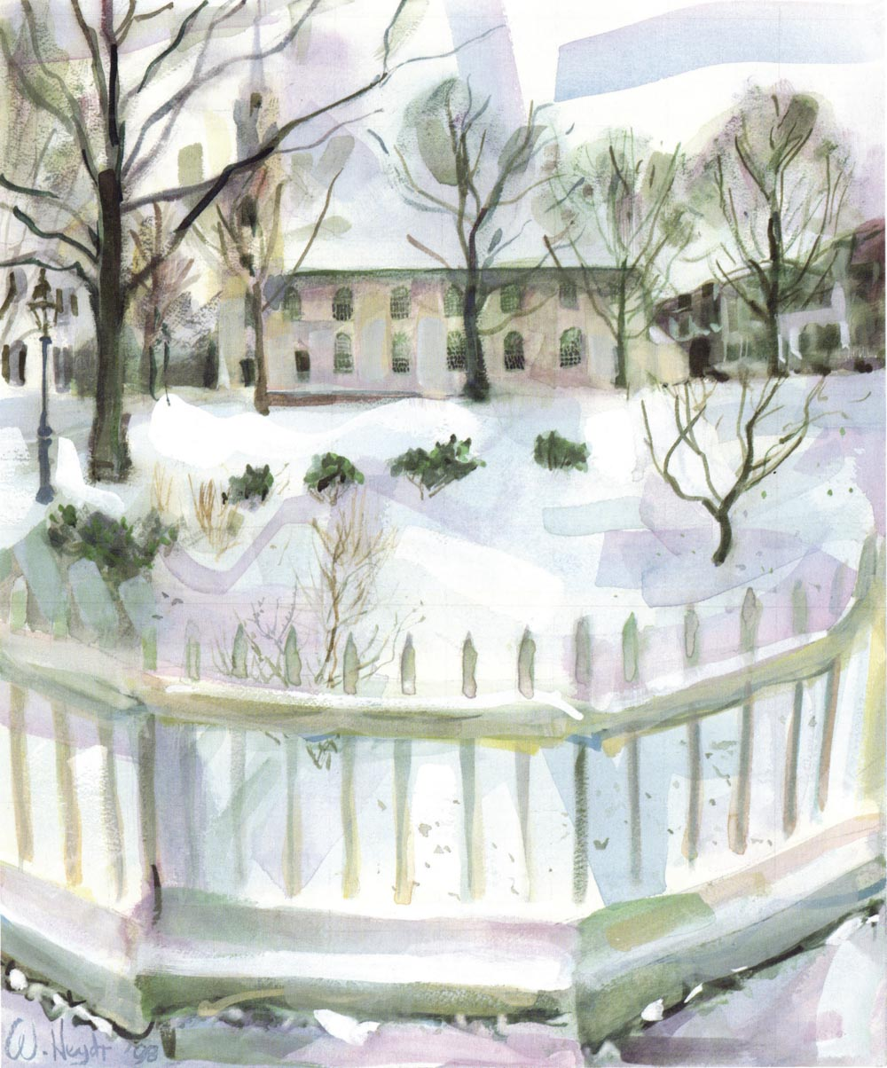 A soft snow blankets a serene Trinity