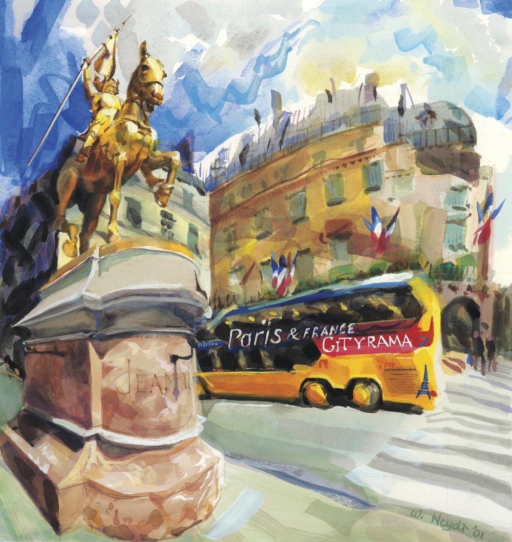 A triumphant Joan of Arc stands guard on la rue de Rivoli, Paris