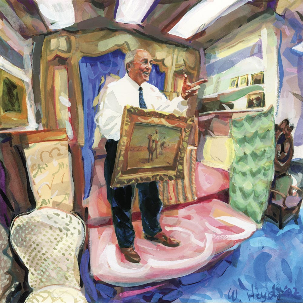 """Auctioneer Mike Corcoran in Act II of...""""and now for the better of the two paintings"""""""