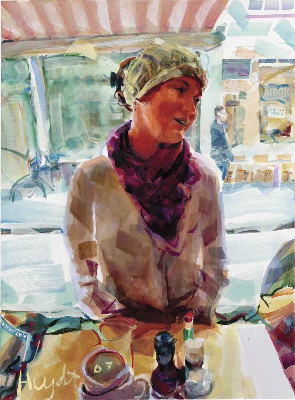 Bernadette at breakfast, Letting Cafe, Amsterdam