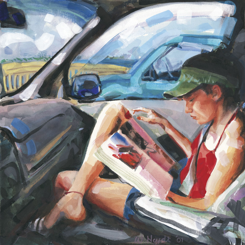 Bernadette enjoys her magazine as the elevated bridge stops traffic, Palm Beach