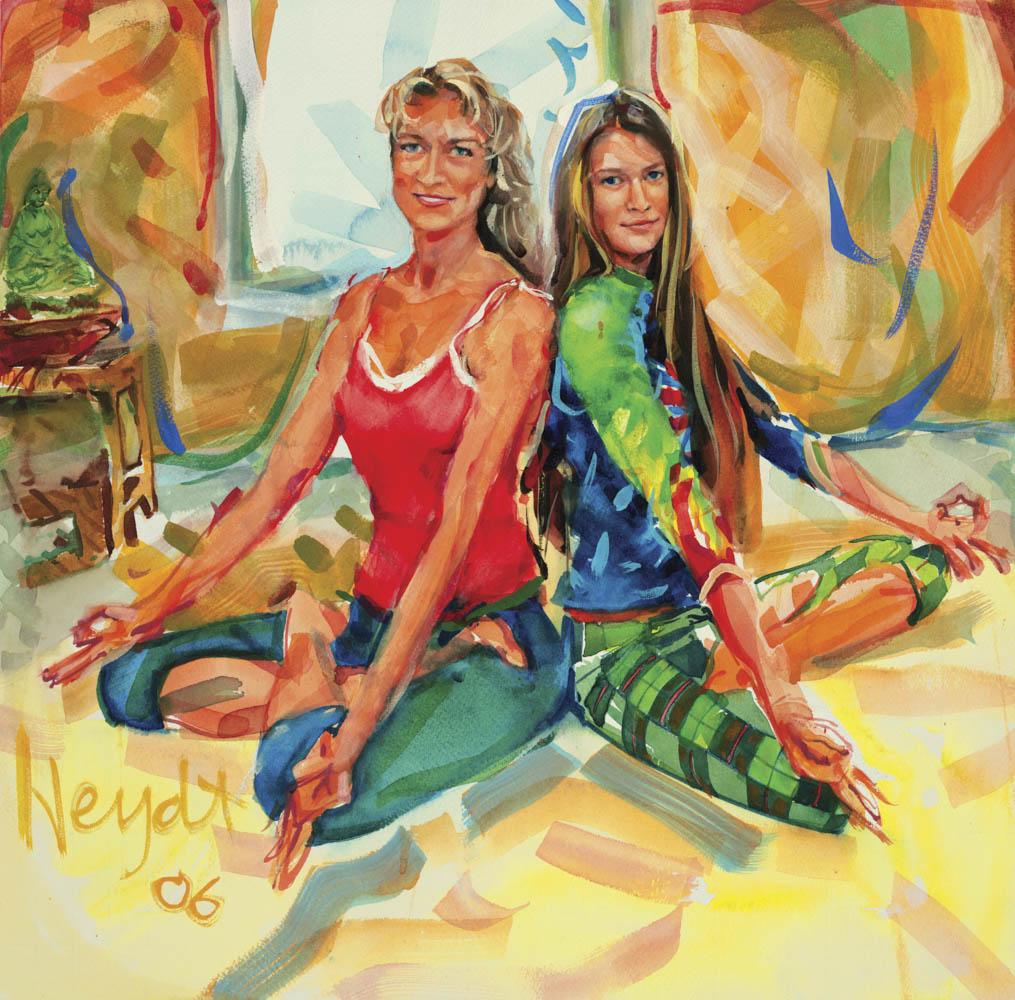 Bernadette has a private class with yoga instructor Kirsten Zettmar