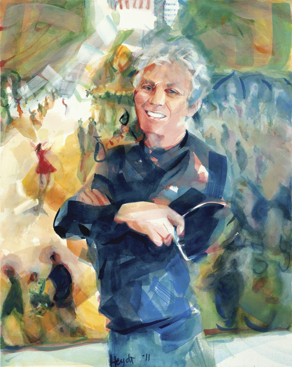 Bill Jaklin in his studio, Newport