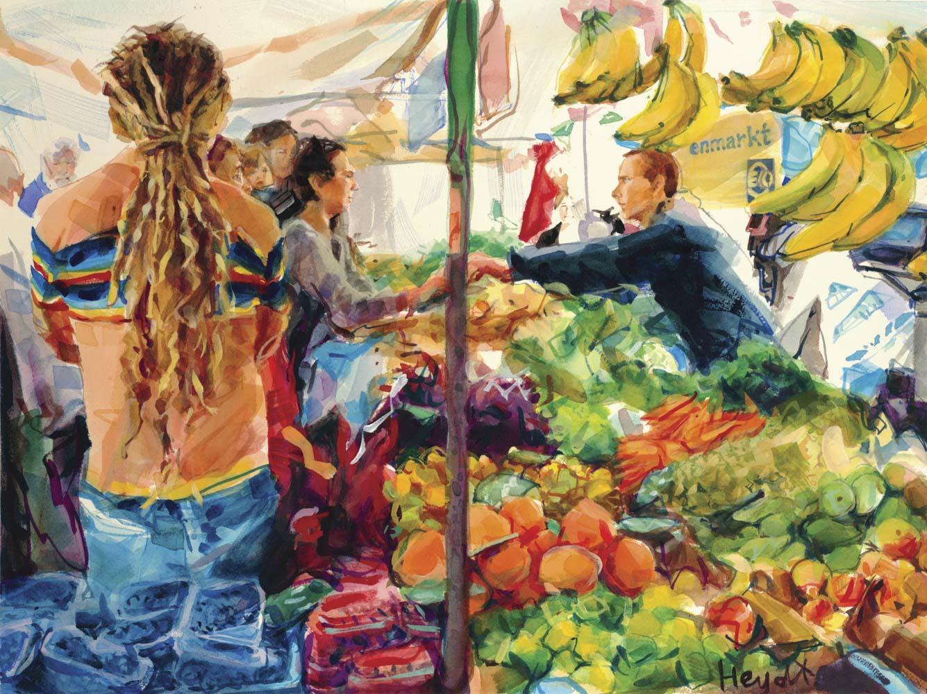 Boerenmarkt op de Noorder Markt, Jordaan, Amsterdam