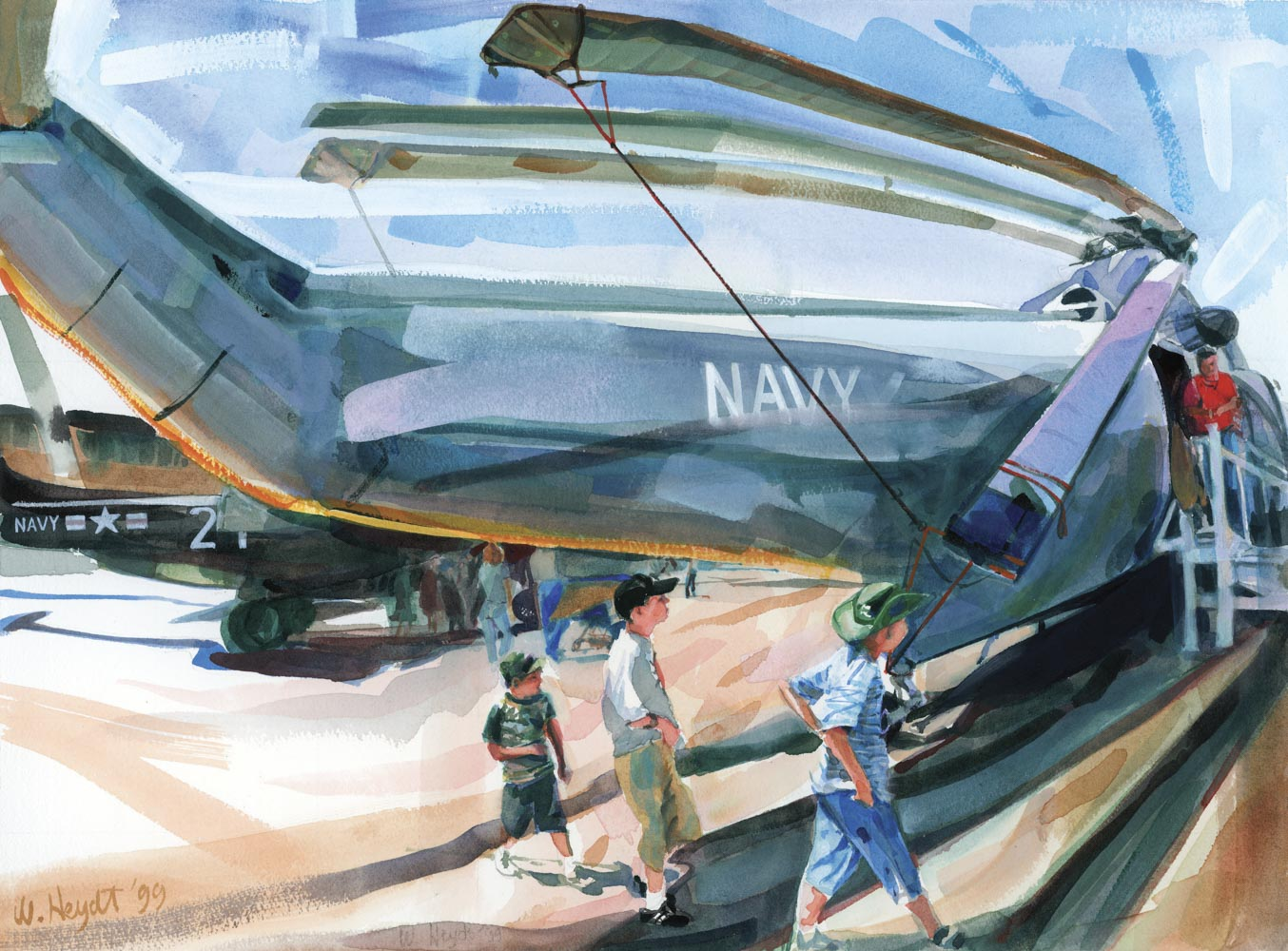 Curious boys cautiously approach a Sikorsky Sea-King - Quonset Point Air Show