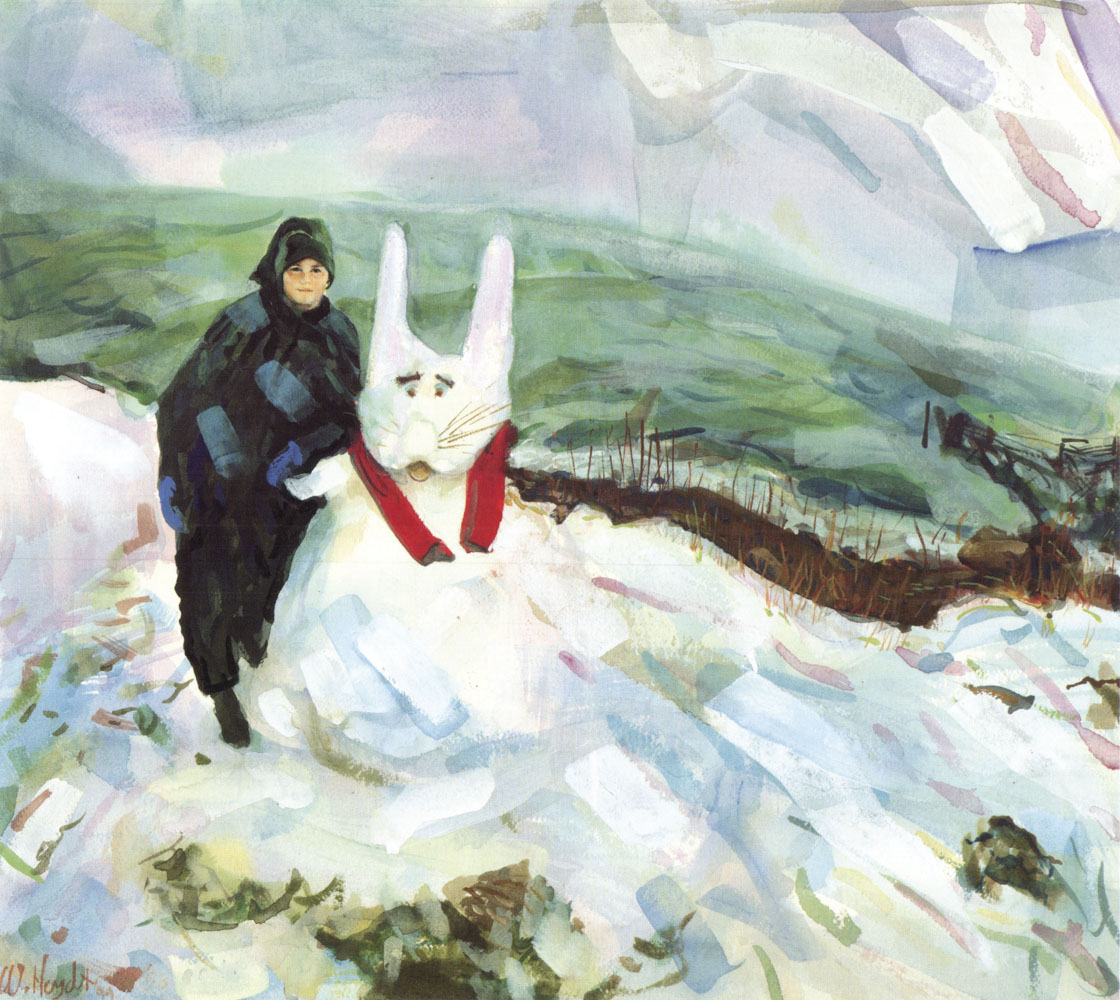 """Eric builds a """"Snow Bunny"""" after a late storm on a chilly Spring day - Jamestown, R.I."""