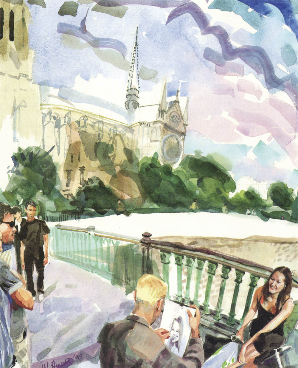 Fall breezes chill the air as an artist works - Pont au Double, Paris