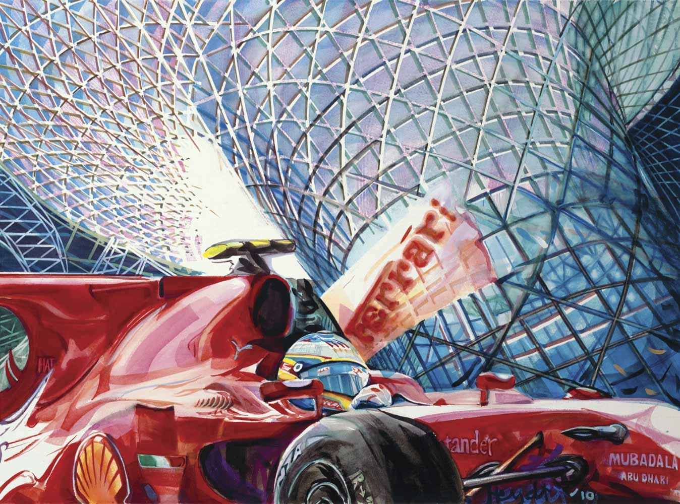 Ferrari passes under the Yas Hotel