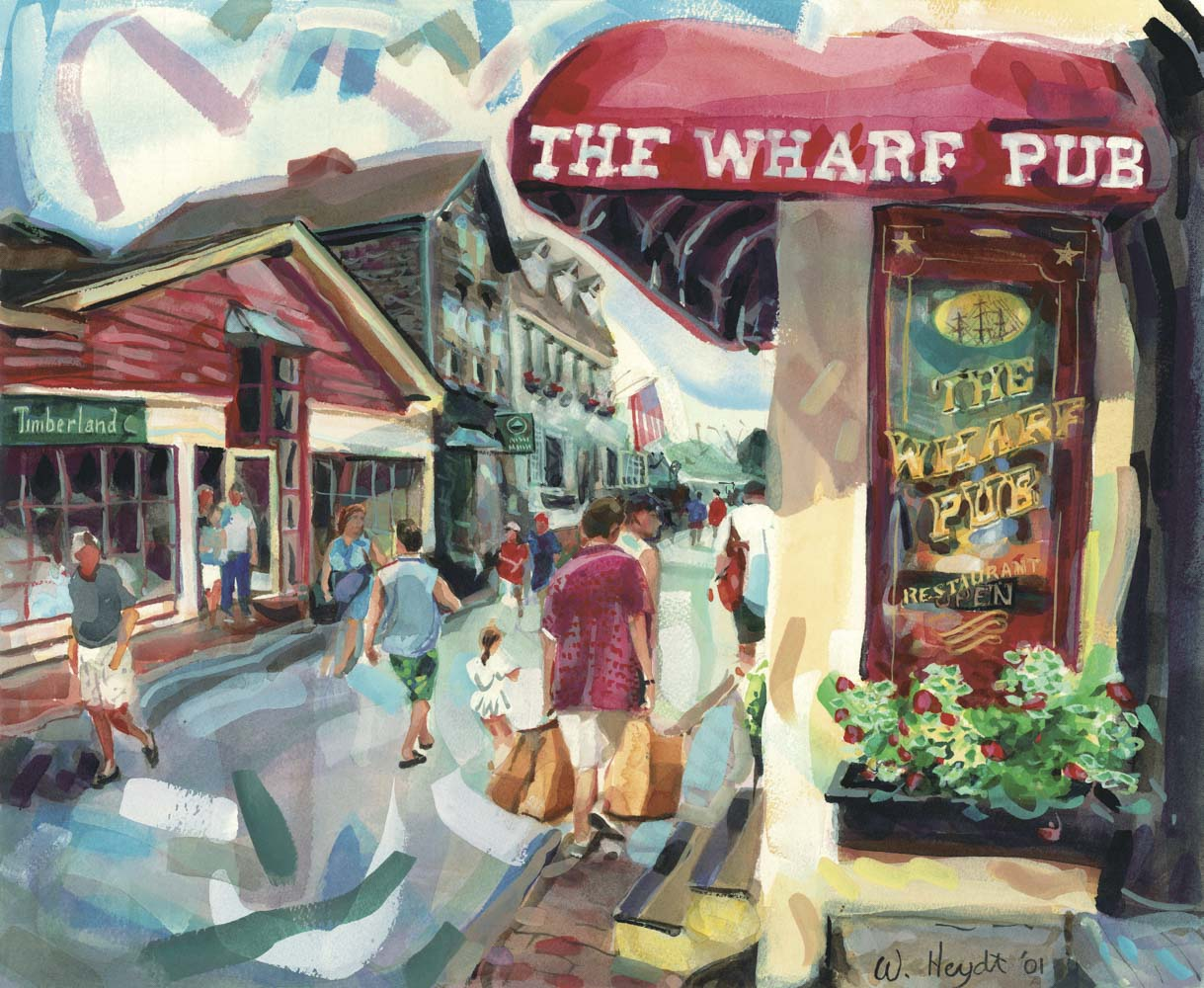 Fun shops and good restuarants draw a summer crowd to Bannisters Wharf, Newport