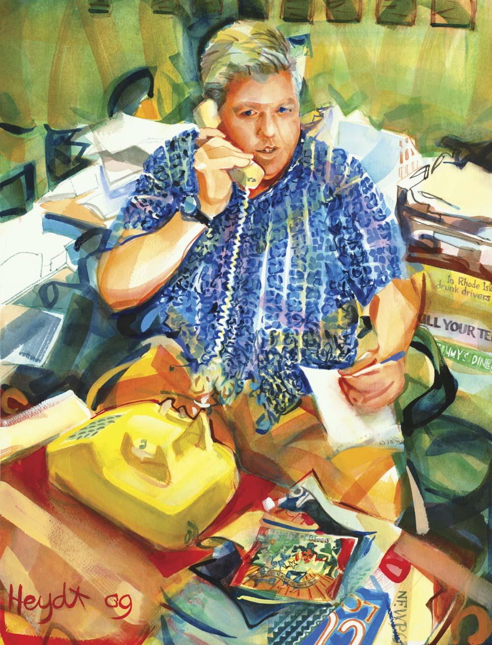 Jim Gillis at his desk at the Newport Daily News