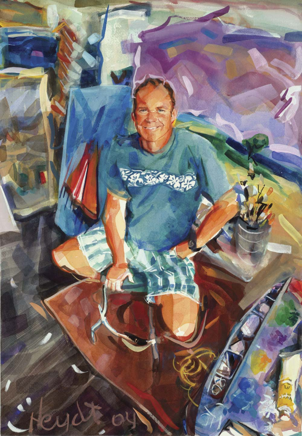 """Johnny """"Mac"""" McGowan in his studio on Bellevue, Newport"""