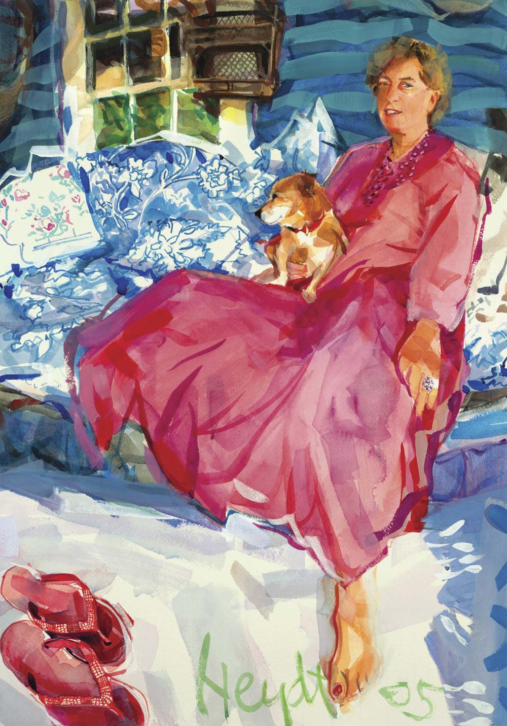 Joya Hoyt lounges on her porch with Tuki