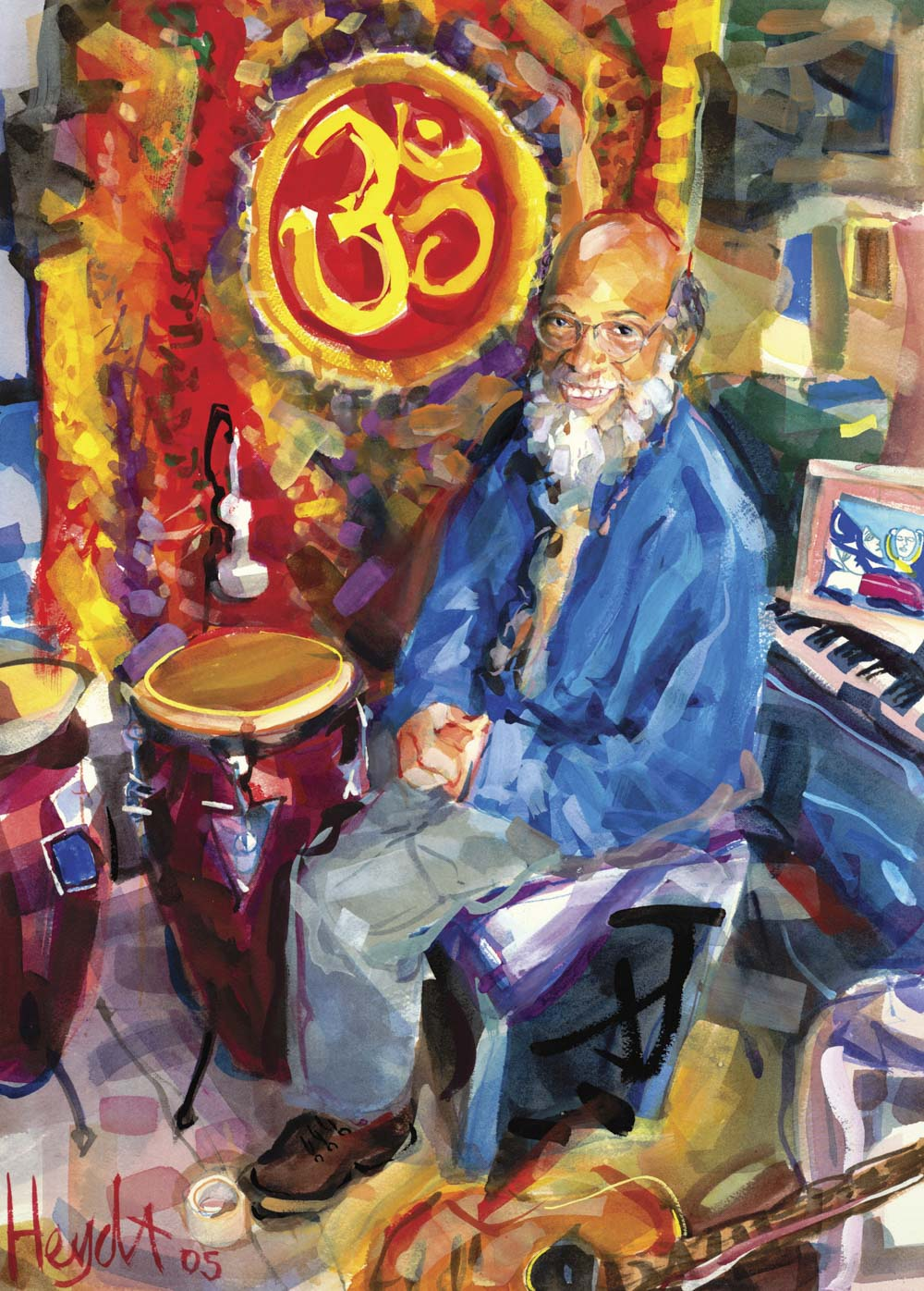 LeRoy White at home in his studio, Newport