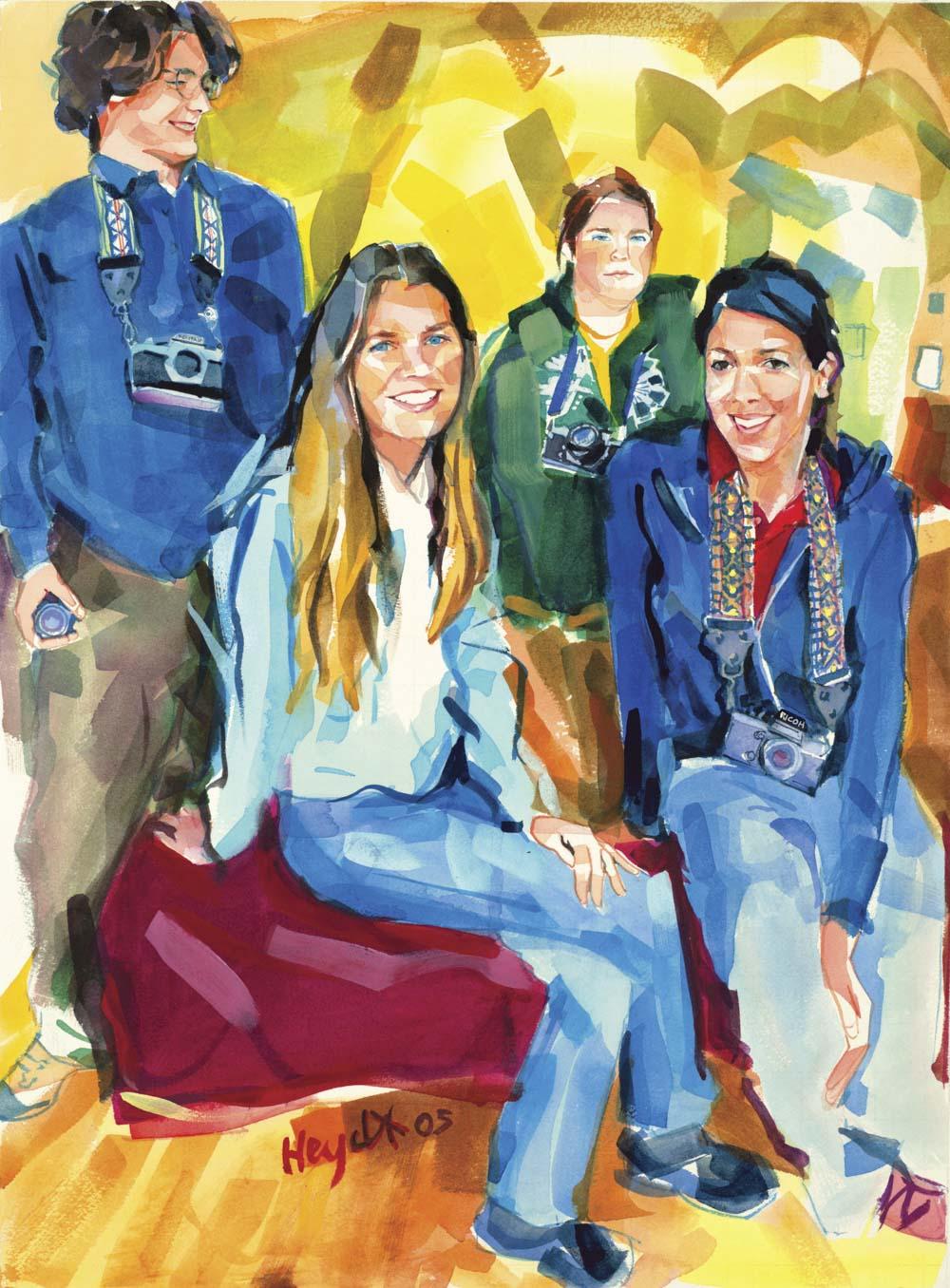 Lisa Randall with members of the Island Arts Camera Club, Newport