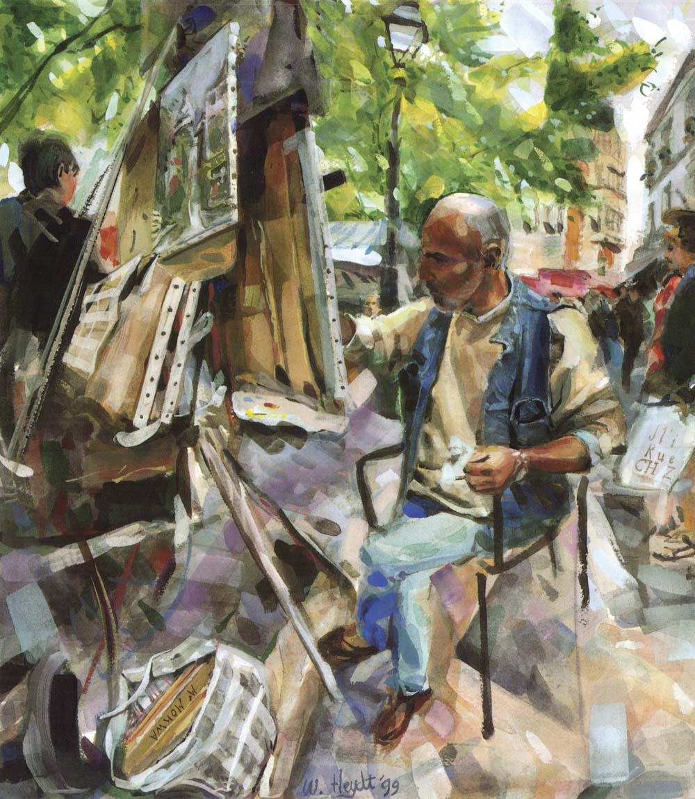 M. Mohwa adds the finishing touches as tourists pass by - Montmarte, Paris