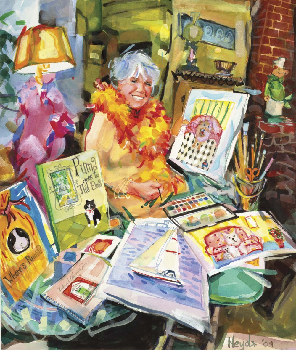 Muriel Barclay de Tolly at home among her works