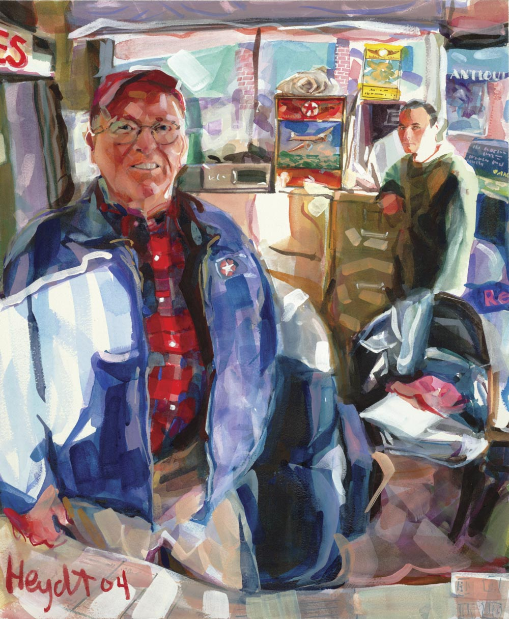 Neil Coffey with son Billy, Coffey's Service Station, Newport