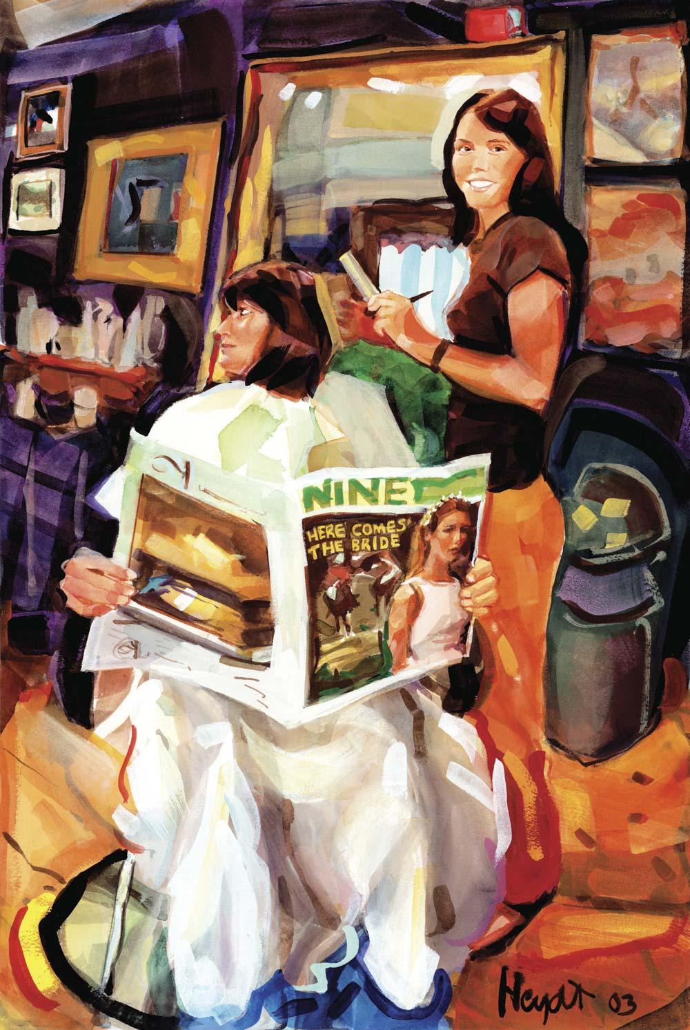 Remington Reese styles Rosemary's 'do at Natural Creations, Newport