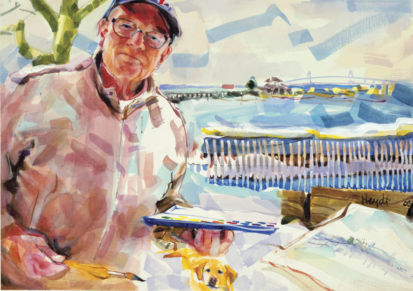 Richard Grosvenor paints Ida Lewis on a bright winter's day