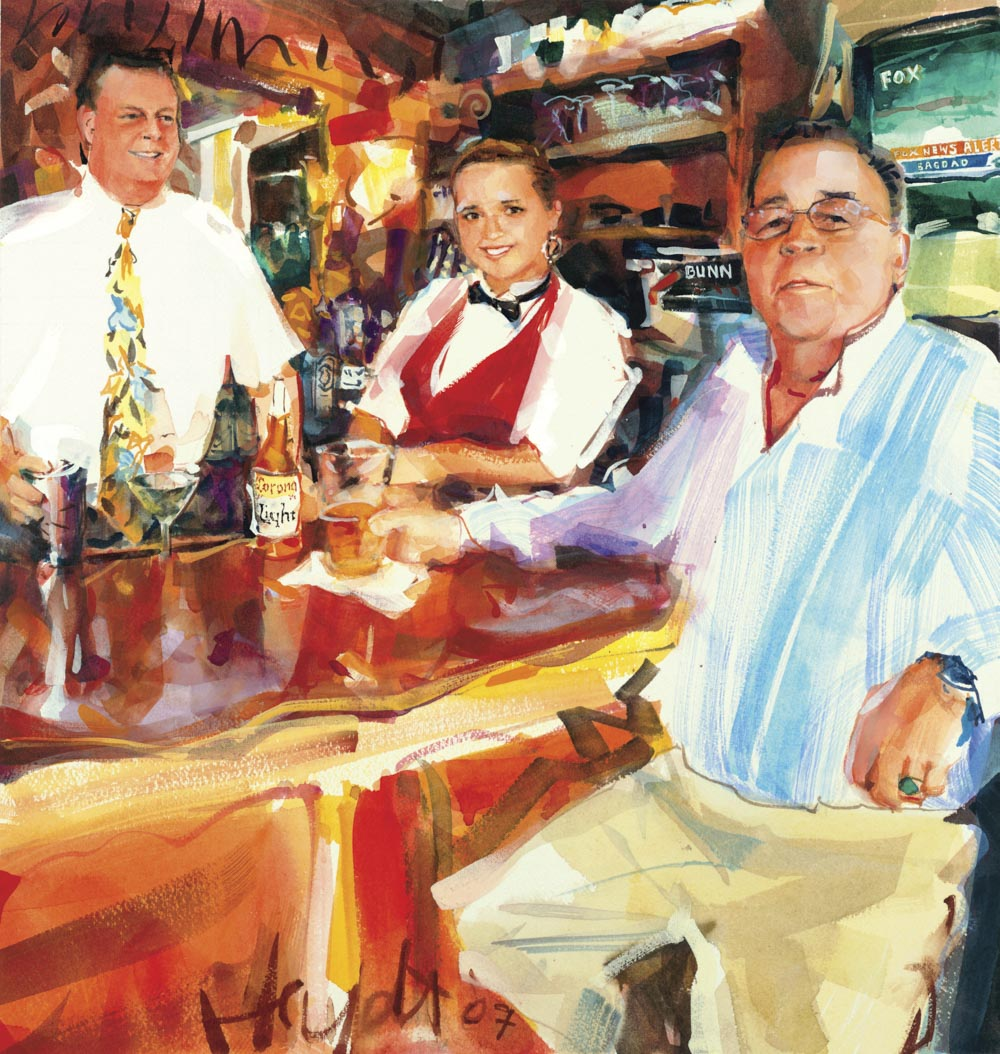 Richard Kelly relaxes with bartender Paul Boardman and Anastasia at Benjamin's in Newport