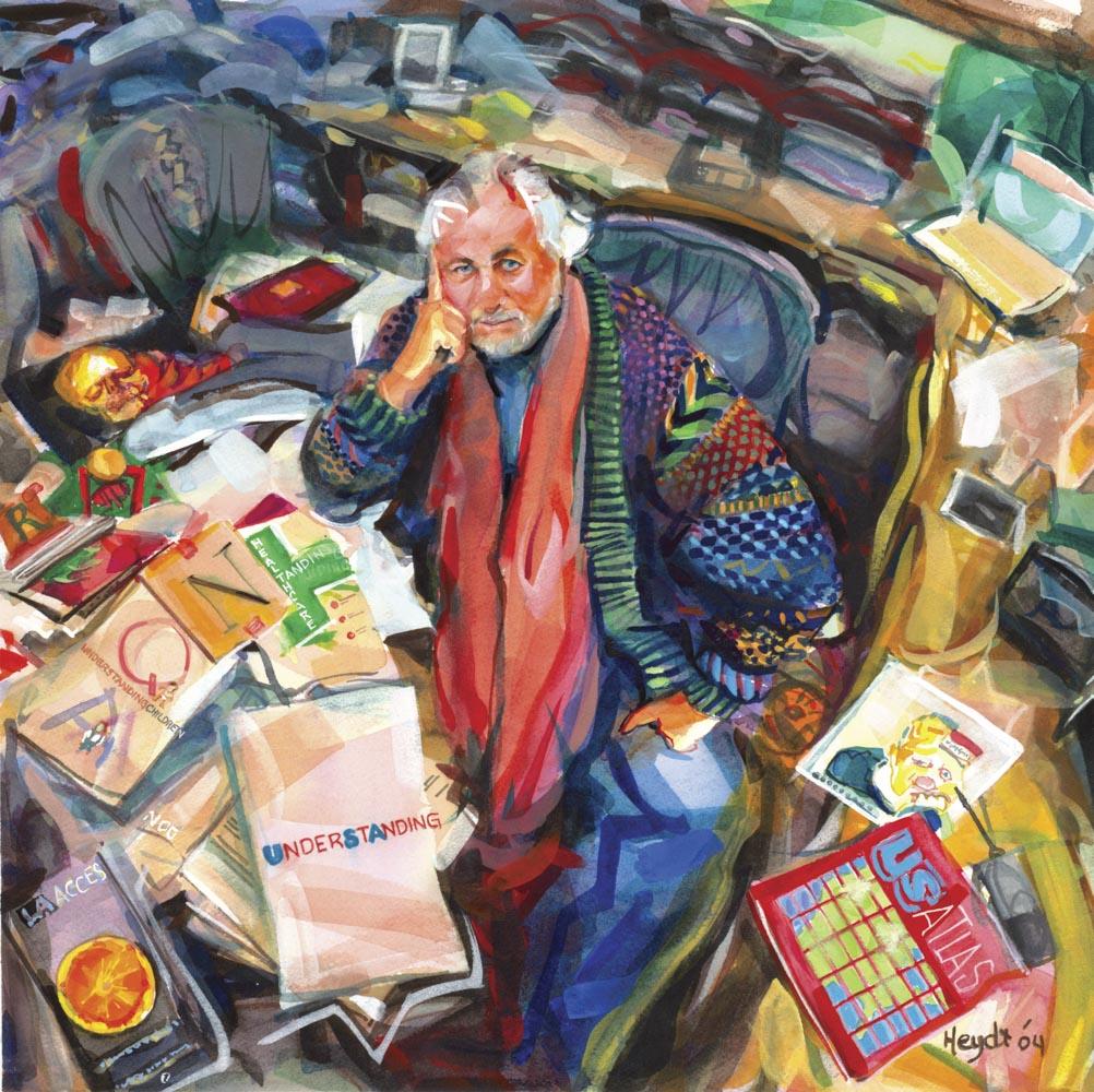 Richard Saul Wurman, at home among his works
