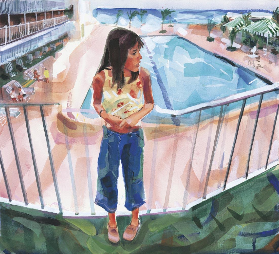 Sam on the balcony of The Beach Club, Palm Beach